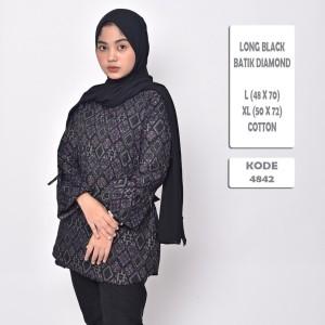 Harga batik songket cewek modern blouse batik wanita diamond premium   black | HARGALOKA.COM
