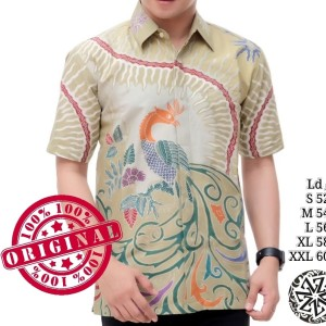 Harga kemeja batik tulis lengan pendek lapis trikot merak   hijau pupus | HARGALOKA.COM