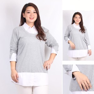Harga baju kerja xxl wanita berkerah spandex mix katun ld 114   HARGALOKA.COM