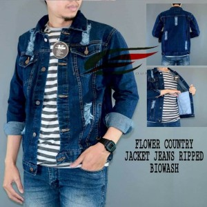 Harga jaket jeans sobek pria terlaris   biru | HARGALOKA.COM