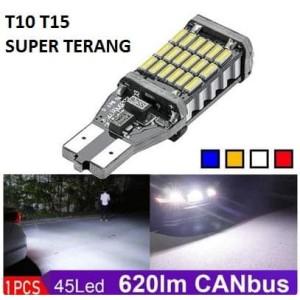 Harga led t15 t10 w16w canbus lampu mundur senja super terang 45 titik smd     HARGALOKA.COM