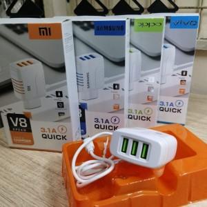 Harga charger hp vivo oppo xiaomi samsung 3 usb output 3 | HARGALOKA.COM