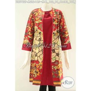 Harga dress batik solo kombinasi kain polos model pias depan size ml dr9762p   | HARGALOKA.COM