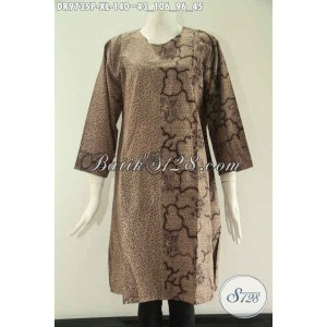 Harga baju dress batik 2 motif model mewah buat wanita kerja size xl | HARGALOKA.COM