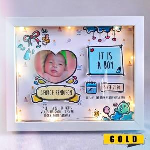 Harga kado lahiran frame bayi gift box baby born boy girl upgrade lampu | HARGALOKA.COM