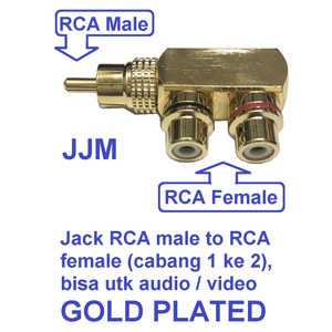 Harga jack rca male to female 1 ke 2 utk speaker audio video gold | HARGALOKA.COM