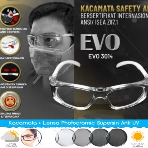 Harga kacamata safety lensa photocromic gray uv normal minus cyilinder   | HARGALOKA.COM