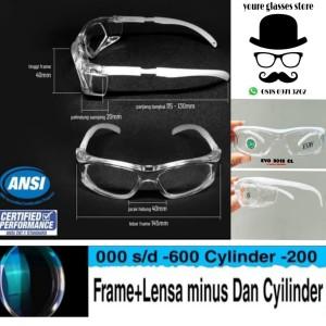 Harga kacamata sport safety pria free lensa normal minus antiradiasi   HARGALOKA.COM