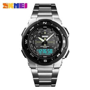 Harga skmei 1370 original jam tangan pria tali rantai stainless steel wr 50m     HARGALOKA.COM