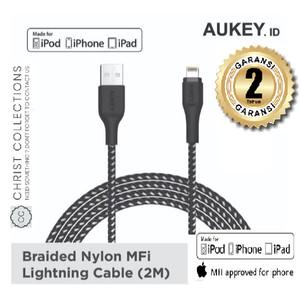 Harga aukey braided kabel charger iphone lightning 2m mfi apple garansi   | HARGALOKA.COM