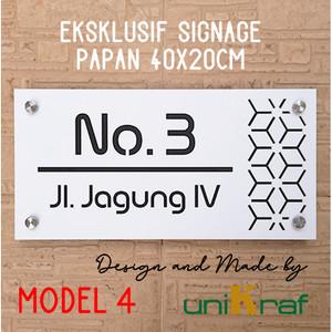 Harga papan alamat amp nomor rumah modern eksklusif 2   acrilic persegi   model 4   | HARGALOKA.COM