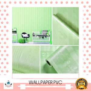 Harga wallpaper sticker polos hijau tekstur batik garis uk 45cm x | HARGALOKA.COM