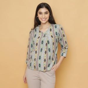 Harga cammomile blouse atasan wanita 1807011sp polkadot brosc lengan panjang   red v2 | HARGALOKA.COM