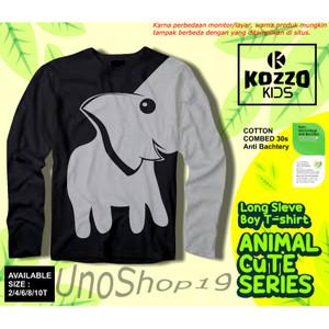 Harga kaos baju anak laki laki hitam gambar gajah 2 10 t combed 30s   | HARGALOKA.COM