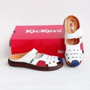 Harga sepatu wanita kickers sandal kickers cewe bustong white combination   putih | HARGALOKA.COM
