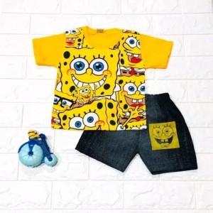 Harga setelan baju anak laki laki spongebob many usia 1 5 thn   | HARGALOKA.COM
