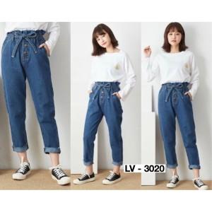 Harga celana boyfriend jeans wanita pinggang karet bf comfy ezra | HARGALOKA.COM
