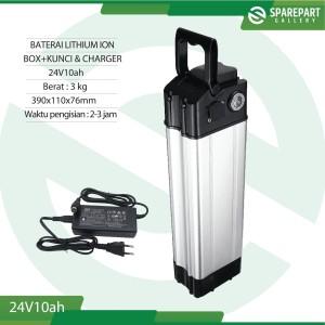 Harga aki baterai lithium ion 24v10ah dan charger sepeda | HARGALOKA.COM