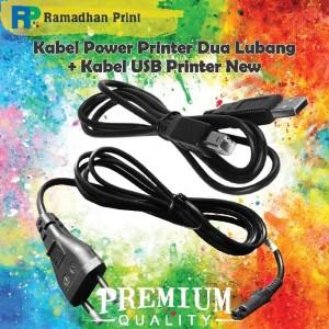 Harga paket cable power printer canon hp epson 2 lubang amp kabel usb | HARGALOKA.COM