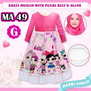 Harga baju muslim anak perempuan gamis silky printing lol pink 3 in 1 ma49   2 3 | HARGALOKA.COM