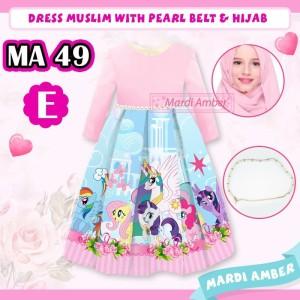 Harga baju muslim anak perempuan gamis silky printing my little pony 3 in 1   2 3 | HARGALOKA.COM