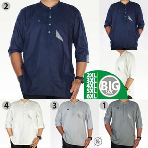 Harga baju koko pria muslim big size gamis kemko panjang chiangi xxl xxxl   biru | HARGALOKA.COM