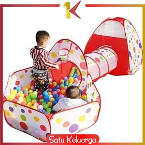 Harga sk m6 mainan tenda anak terowongan 4 in 1 kolam ring basket mainan   tenda 4in1 | HARGALOKA.COM