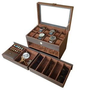 Harga box jam tangan isi 12 kacamata 5 dan perhiasan emas kalung cincin acc   cokelat | HARGALOKA.COM