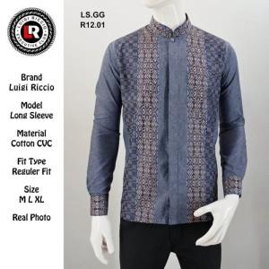 Harga baju koko pria luigi riccio regular fit lengan panjang design keren   | HARGALOKA.COM