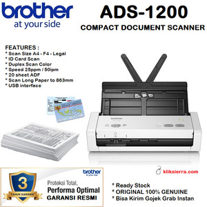 Harga brother ads 1200 compact portable desktop scanner ads1200 id card | HARGALOKA.COM