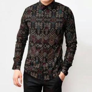 Harga baju kemeja batik songket pria lengan panjang hitam slimfit casual   hitam | HARGALOKA.COM