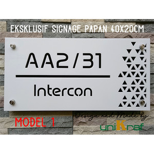 Harga papan alamat amp nomor rumah modern eksklusif   acrilic persegi   model 1   | HARGALOKA.COM