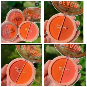 Harga per pc kiss beauty peach blusher 2in1 murah makeup blusher | HARGALOKA.COM