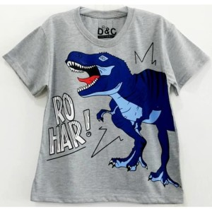 Harga size 1 10 baju kaos pendek anak karakter dino dinosaurus rohar abu   size | HARGALOKA.COM