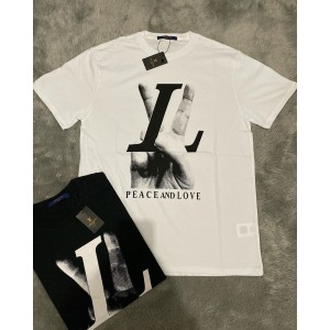 Harga t shirt lv peace and love white kaos pria wanita fashion pria | HARGALOKA.COM