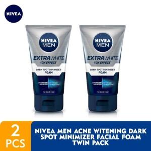 Harga nivea men extra whitening dark spot minimizer facial foam   twin | HARGALOKA.COM