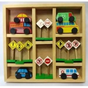 Harga mainan kayu rambu lalu lintas amp mobil2an kemasan | HARGALOKA.COM