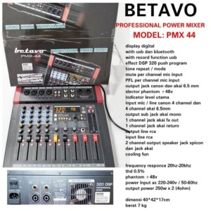Harga mixer power pmx 44 profesional 4 channel powered garansi | HARGALOKA.COM