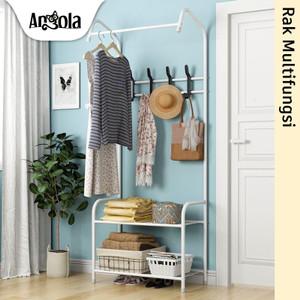 Harga angola rak gantungan baju d23 stand hanger jemuran tempat tas sepatu   | HARGALOKA.COM