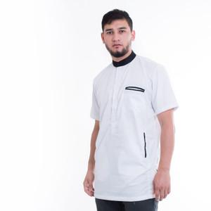 Harga promo murah baju koko pria muslim model casual lengan pendek 2020   putih | HARGALOKA.COM