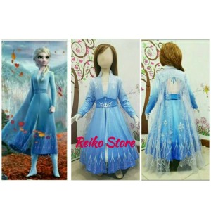 Harga kostum frozen 2 elsa ii dua dress baju anak putri princess sayap biru   uk   HARGALOKA.COM