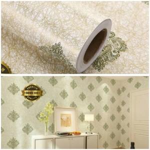 Harga grosir murah  wallpaper sticker dinding batik hijau serat emas 10 | HARGALOKA.COM