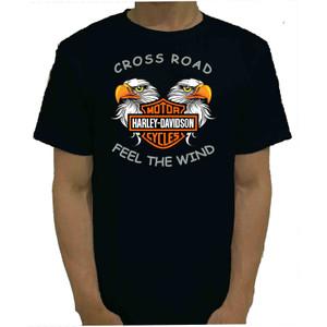 Harga baju kaos tshirt hitam harley cross road catton combed 20s murah   | HARGALOKA.COM