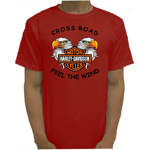 Harga baju kaos tshirt merah harley cross road catton combed 20s murah   | HARGALOKA.COM