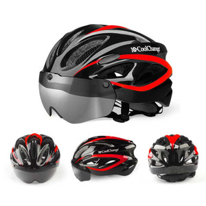 Harga coolchange helm sepeda eps windproof lens ringan roadbike mtb 19020   hitam   HARGALOKA.COM