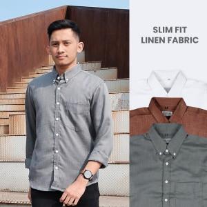 Harga kemeja linen polos premium lengan panjang   textured shirt by elegra   hijau   HARGALOKA.COM