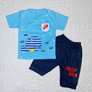Harga 6 24 bln setelan baju anak laki laki motif ikan paus deep sea   | HARGALOKA.COM