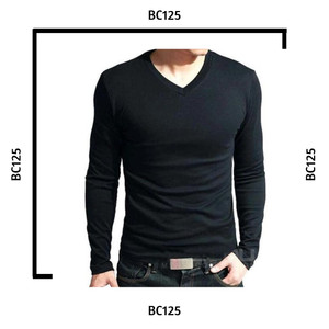 Harga v neck lengan panjang cotton combed 30s fashion pria kaos cowok murah   s | HARGALOKA.COM