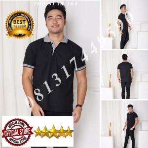 Harga kaos polo shirt polos hitam kerah abu kaos kerah pria baju kaos kerah   tulis no warna   HARGALOKA.COM