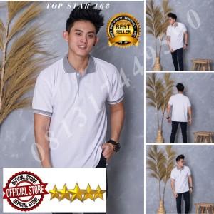 Harga kaos polo shirt polos putih kerah abu kaos kerah pria baju kaos kerah   tulis no warna   HARGALOKA.COM